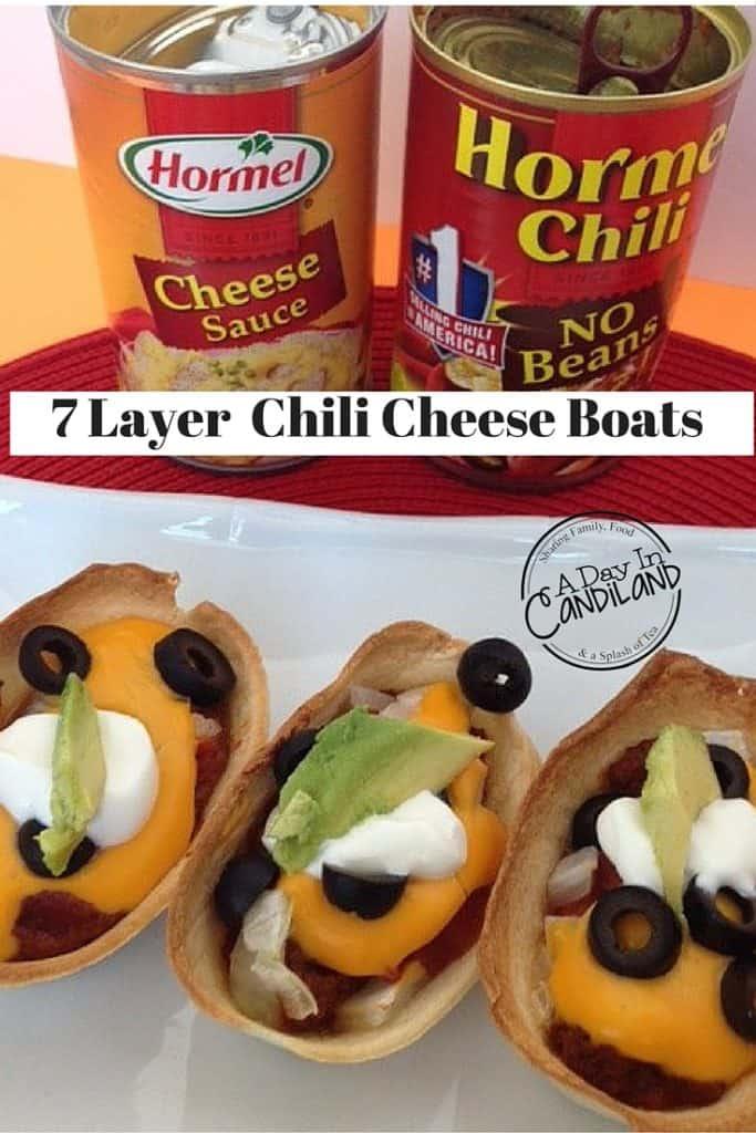7 Layer Mini Chili Cheese Boats