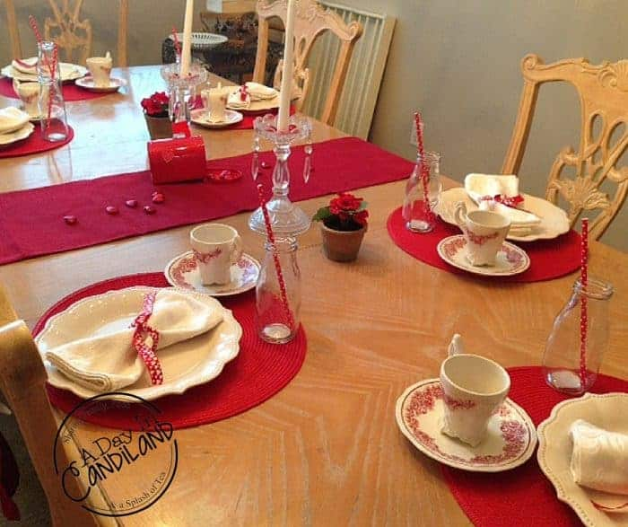Valentines Table Setting decor on a budget