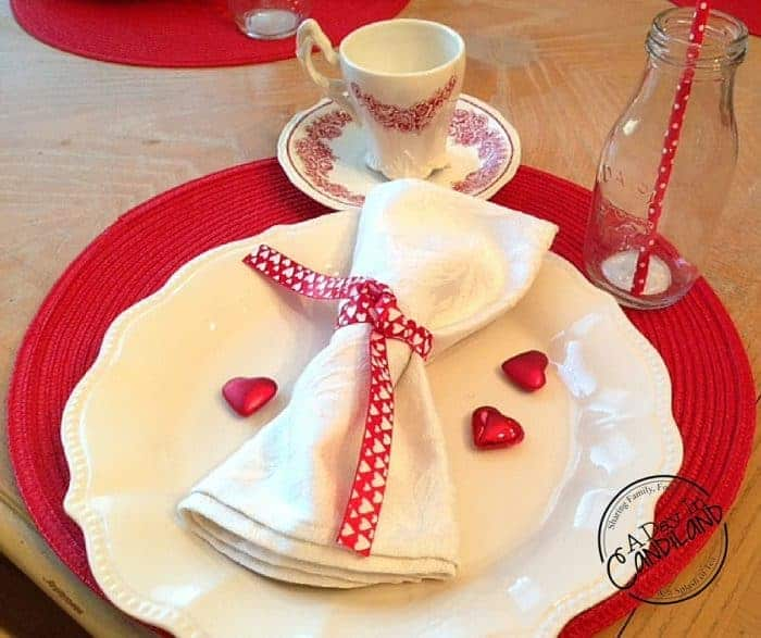 Valentines Table setting on a budget 2