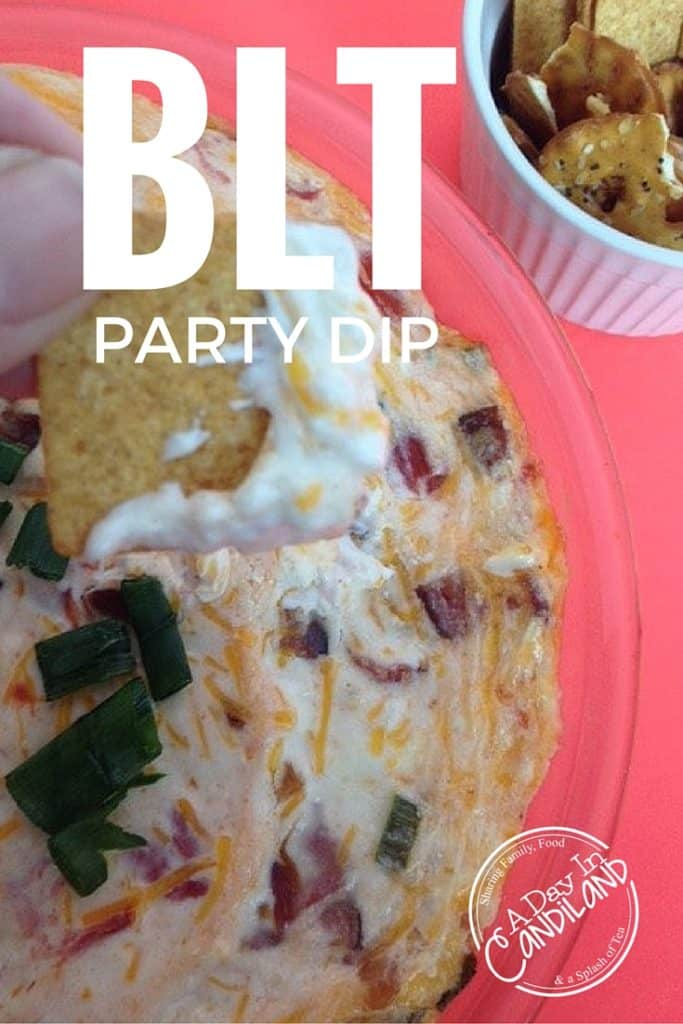BLT PARTY DIP in glass pie plate with crackers on the side.