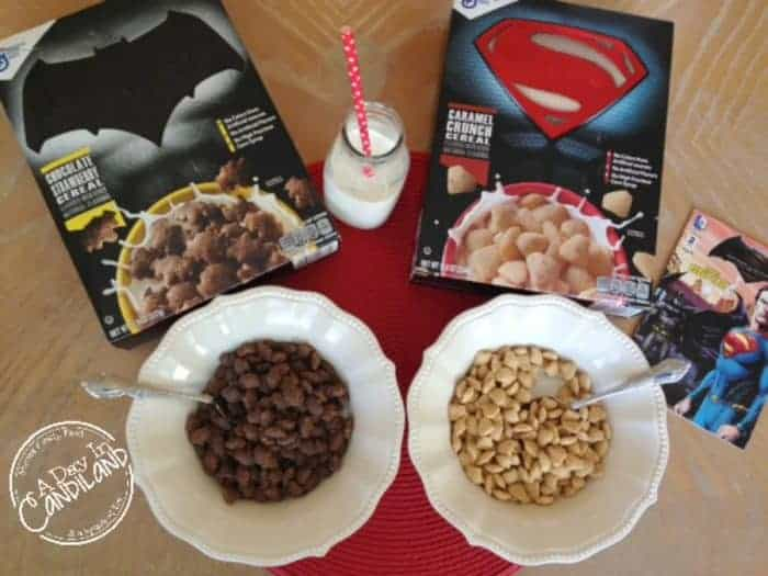 Batman and Superman Cereal with glass of milk