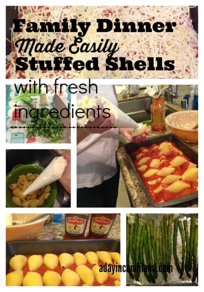 Family Dinner Made Easily with fresh ingredients and five cheese stuffed shells.