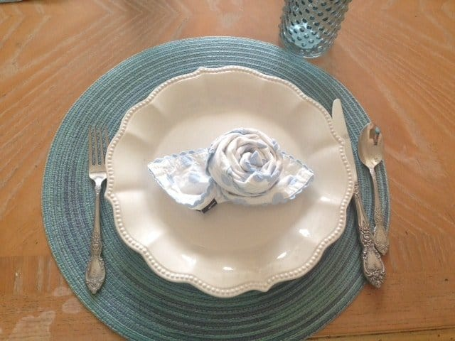 Rose Flower Napkin Table Setting