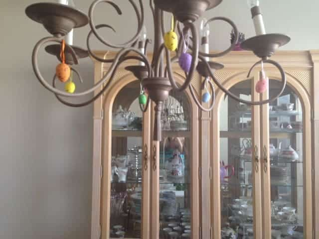 Easter Eggs hanging from Chandelier