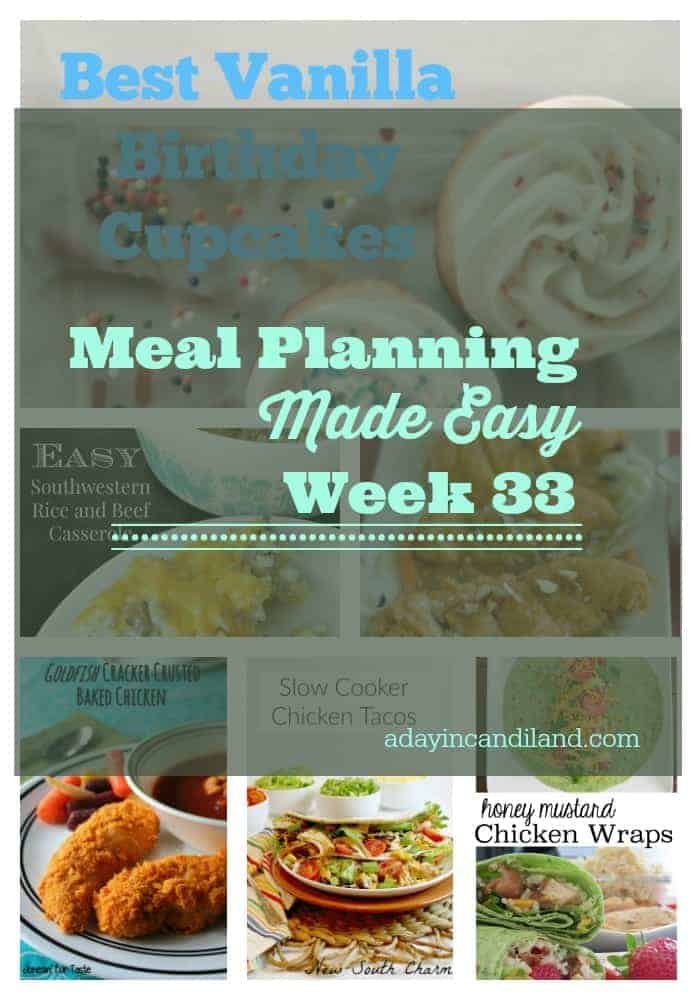 Meal Planning Made Easy Week 33 A weeks worth of meals and a free printable shopping list.