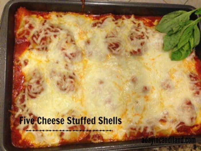 pan of five cheese easy stuffed shells recipe