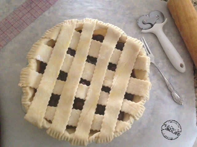 Cherry Pie with lattice crust before baking