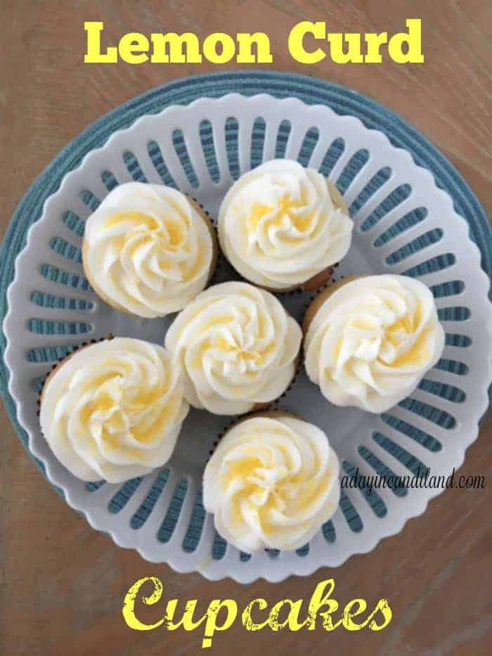 Sunny Lemon Curd Cupcakes perfect for a spring or summer dessert filled with tangy lemon curd