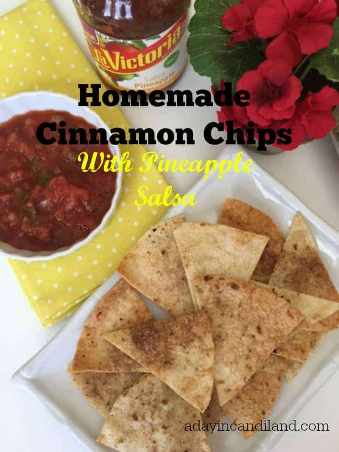 Homemade Cinnamon chips with pineapple salsa