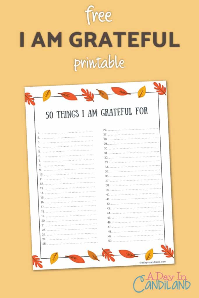 50 things I am grateful free printable #candiland