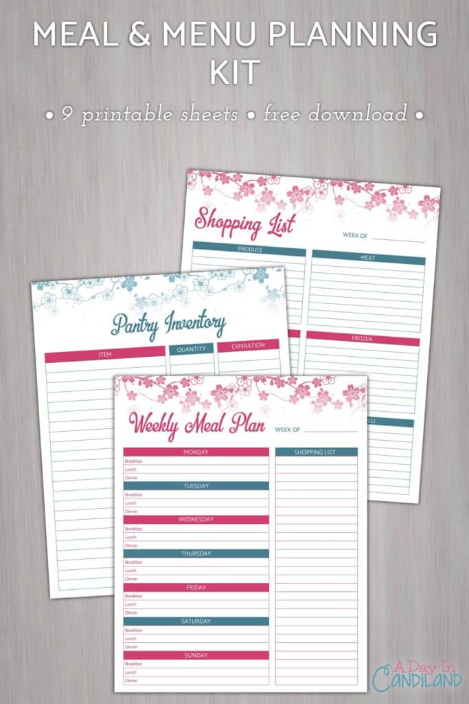 Free 9 Page menu plan kit when you subscribe to A Day in Candiland