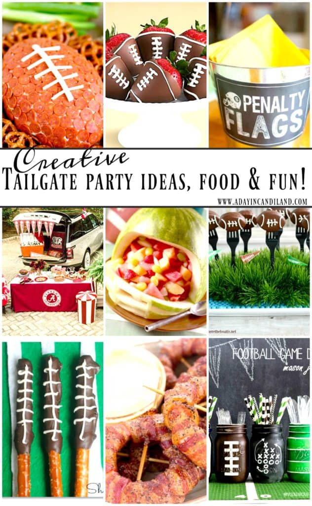 Creative Tailgate Party Ideas, food and fun #candiland #familyfriendlyfood