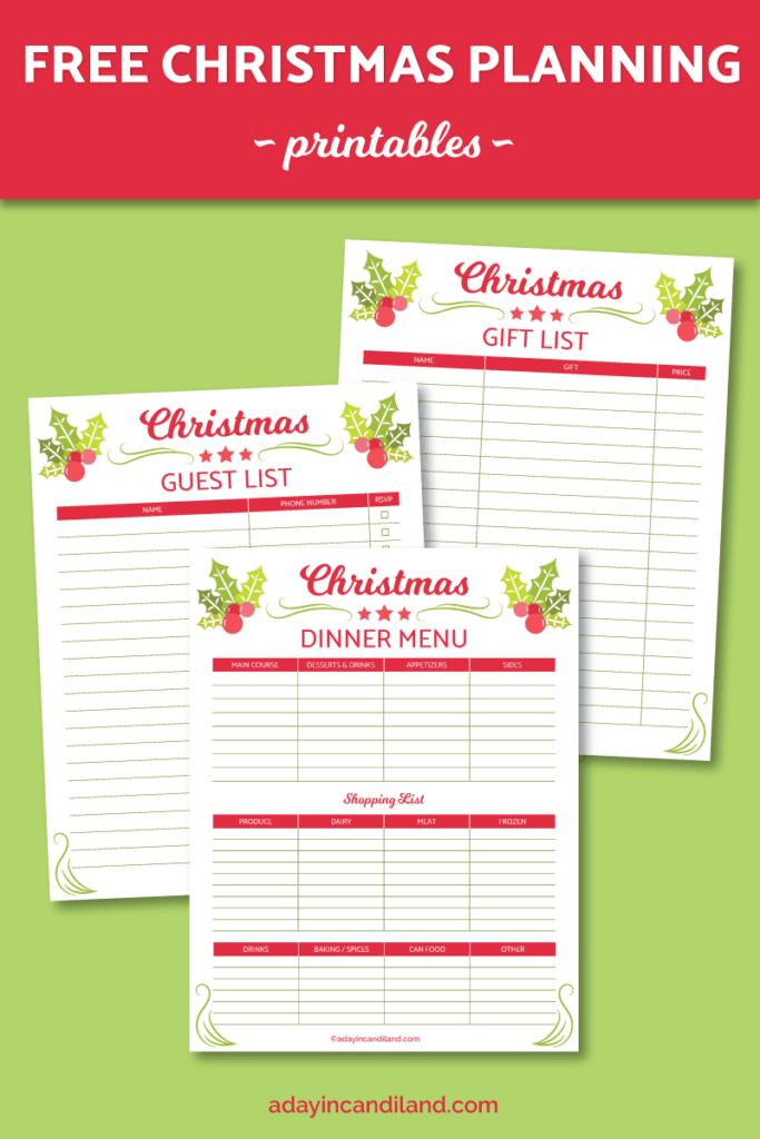 Christmas Planner Preview Page for A Day in Candiland get 3 free printable lists