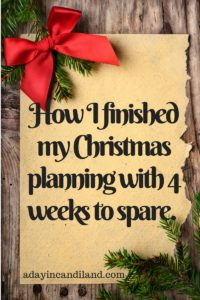 How I finished my Christmas Planning with 4 weeks to spare