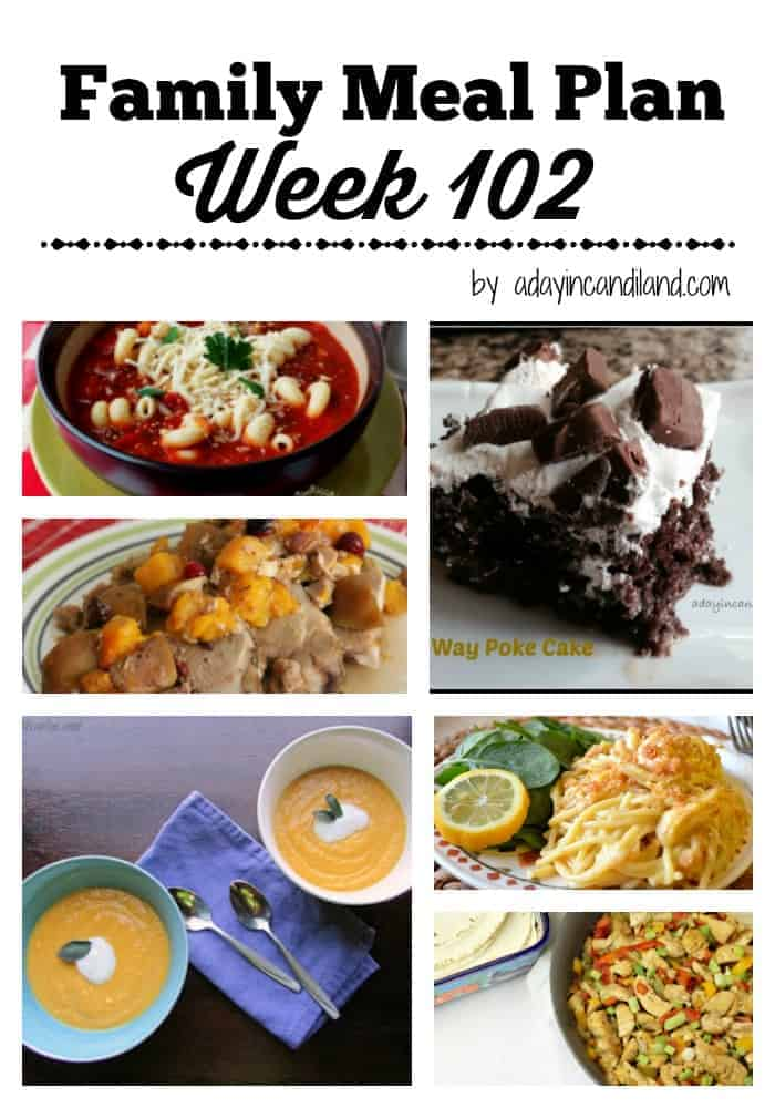 Easy Family Meal Plan Week 102 for busy moms that need to save time.