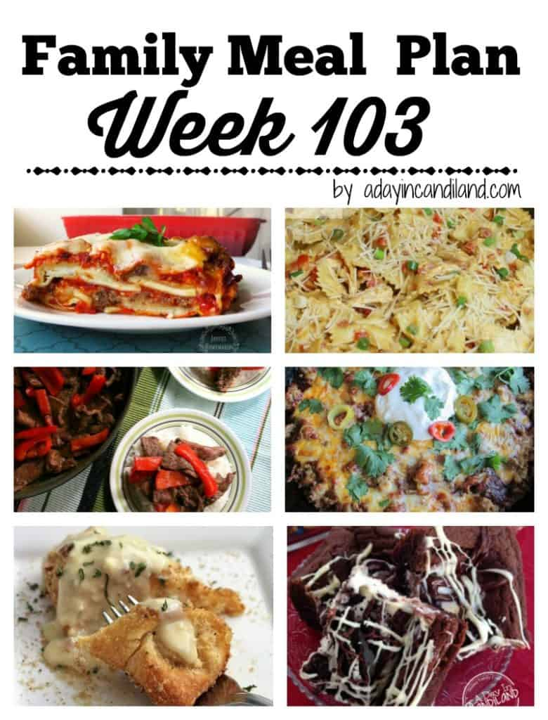 Easy Family Meal Plan for busy moms Week 103