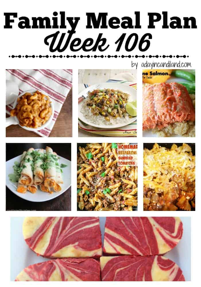 Family Meal Plan Week 106 for busy moms