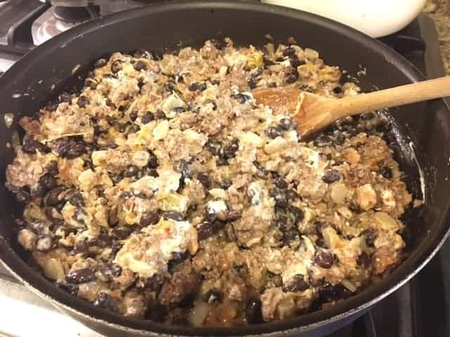 Pan of black bean enchilada skillet