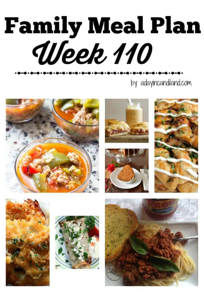 Family Meal Plan Week 110 for busy moms
