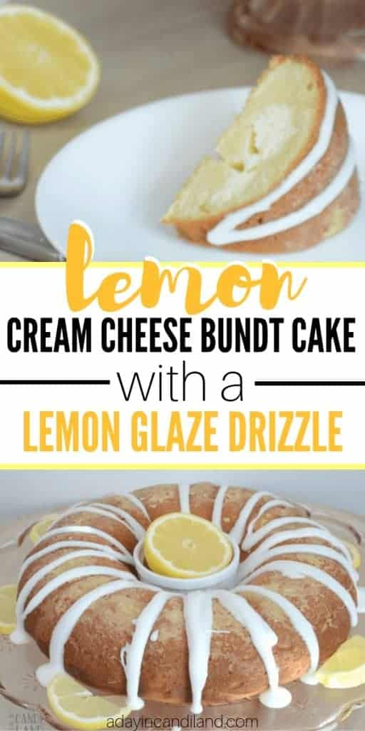 Lemon Cream Cheese Bundt Cake with Lemon Glaze Drizzle