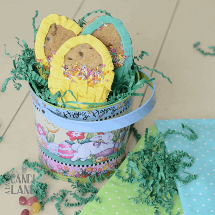Square DIY Spring or Easter Cookies in a tin.