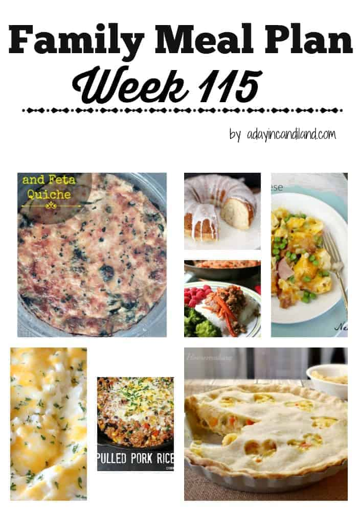 Family Meal Plan Week 115 6 dinners and 1 dessert