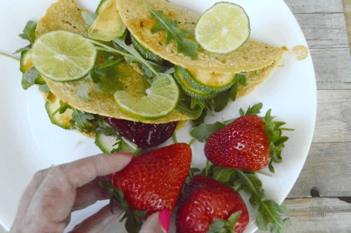 Grilled Vegetarian Tacos with Strawberries