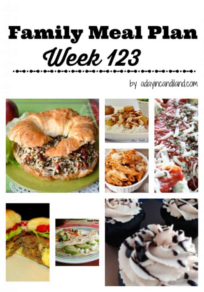 Easy Family Meal Plan Week 123 with 6 dinner recipes and 1 dessert recipe