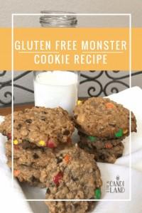 Gluten Free Monster Cookie Recipe using gluten free oats, peanut butter and brown sugar.