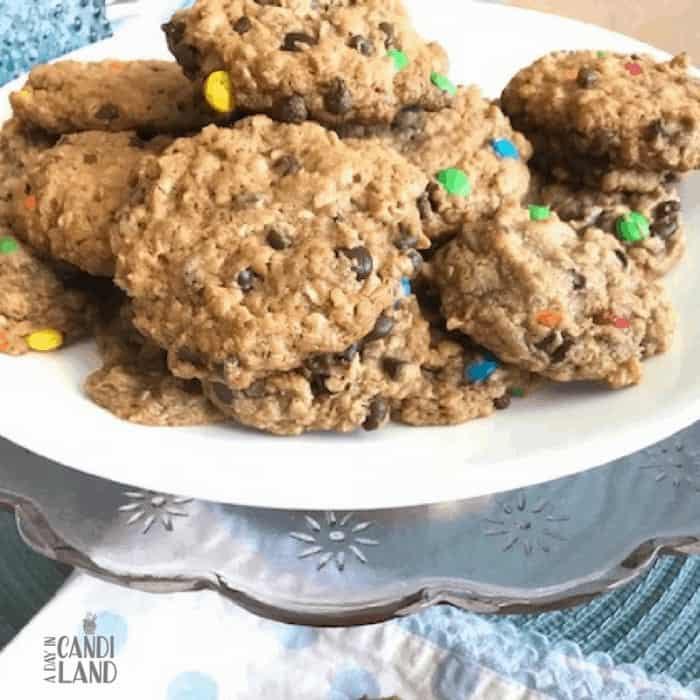 gluten Free Monster Cookie Recipe with almond butter and gluten free oats.