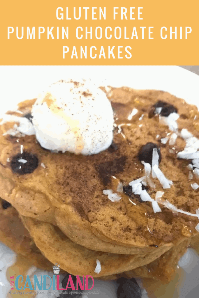 Gluten Free Pumpkin pancakes made with chocolate chips.