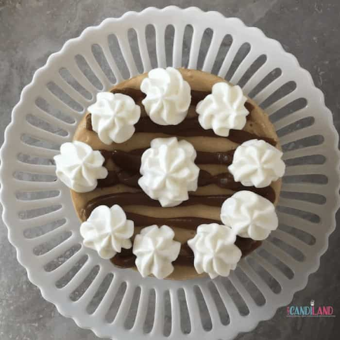 Easy Salted Cheesecake on White Pedestal Plate