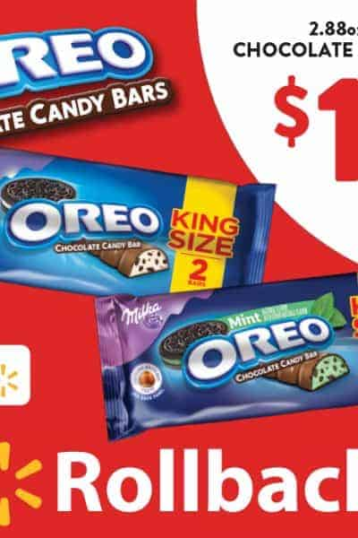OREO Chocolate King Size Candy Bars on Rollback at Walmart