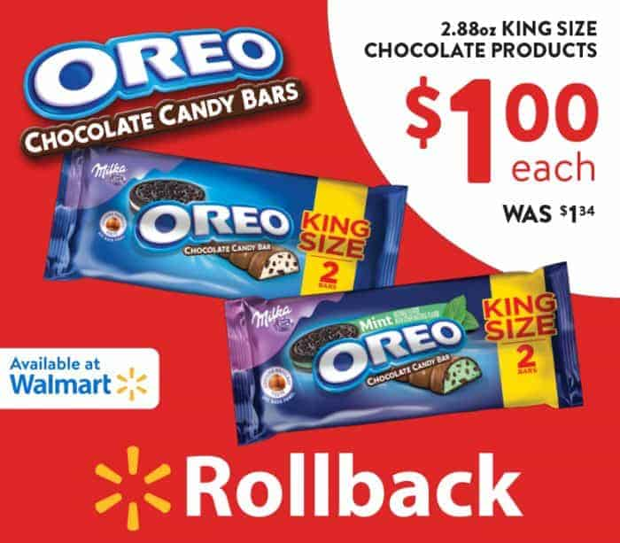 OREO Chocolate King Size Candy Bars on Rollback at Wallmart