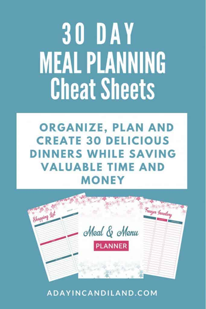 Landing page pin for meal planning cheat sheet blue