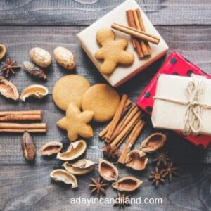 Edible Holiday Boxes and cinnamon with gingerbread men