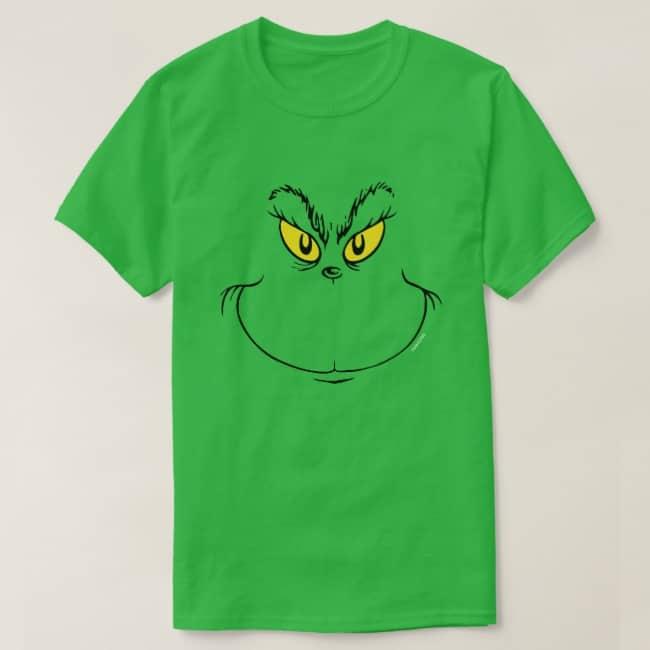 Green Tshirt Grinch Face