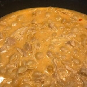 Buffalo Mac and Cheese inside crockpot