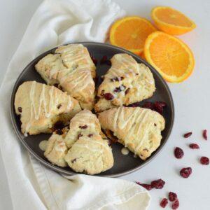 Cranberry Orange Scones with orange slices