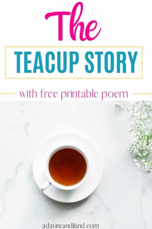 A white teacup with tea on a table