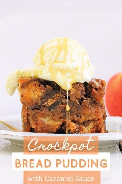 Crockpot Bread Pudding Slice on plate
