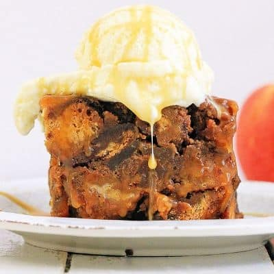 Bread pudding with ice cream on top