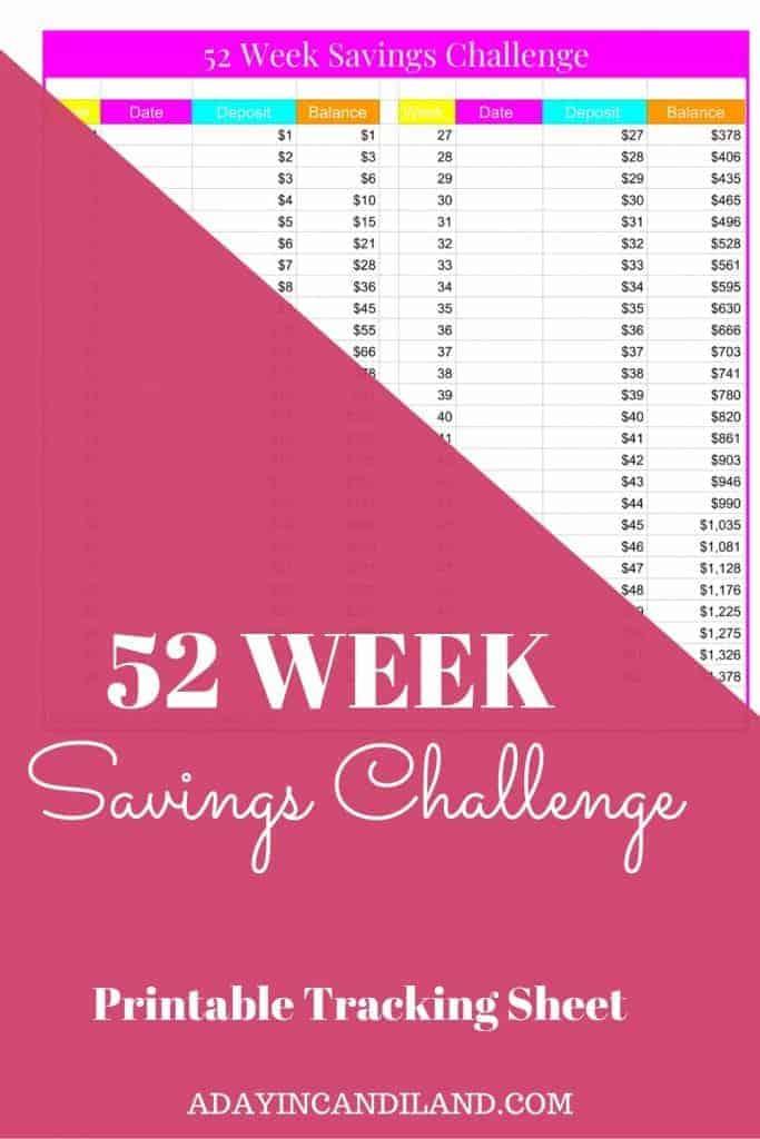 52 Week Savings Challenge Printable