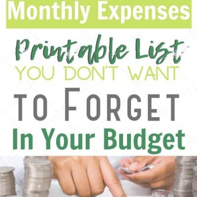 Additional Monthly Expenses List with Printable