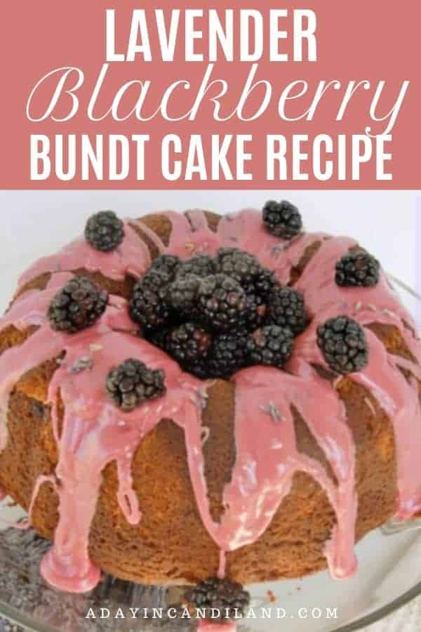 Lavender Bundt Cake on white plate