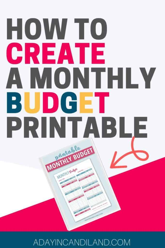 Printable Monthly Budget Worksheet