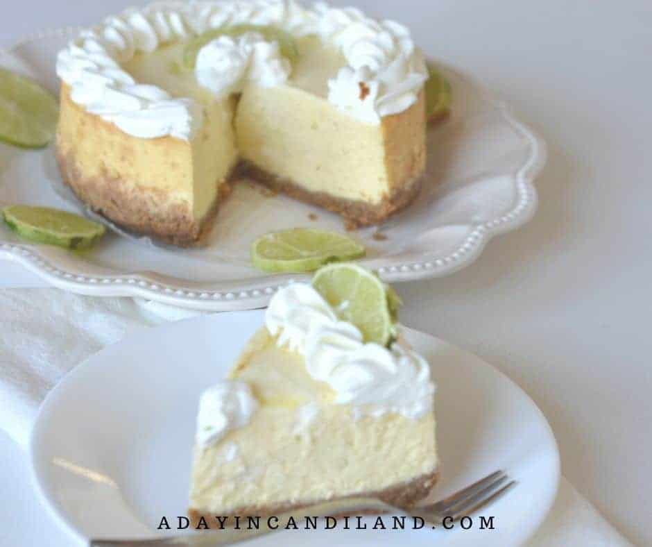 Key Lime Cheesecake slice and full size on white plate