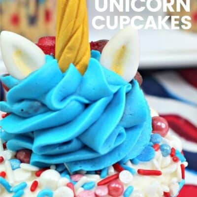 Red White and Blue Unicorn Cupcakes