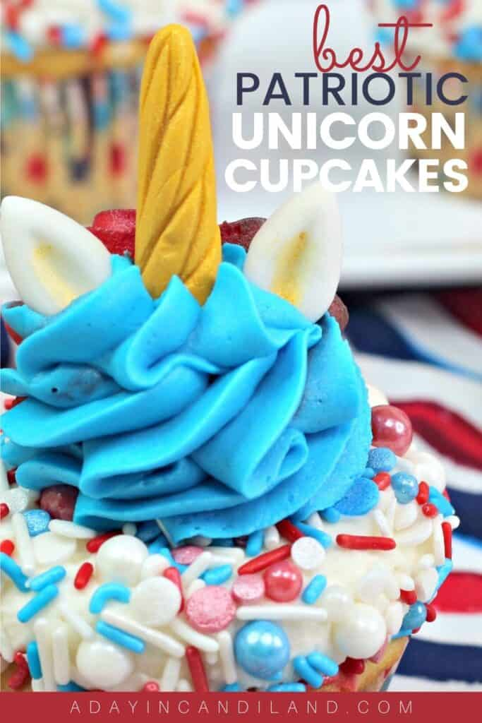 Cupcake with Unicorn horn and ears and red white and blue frosting.