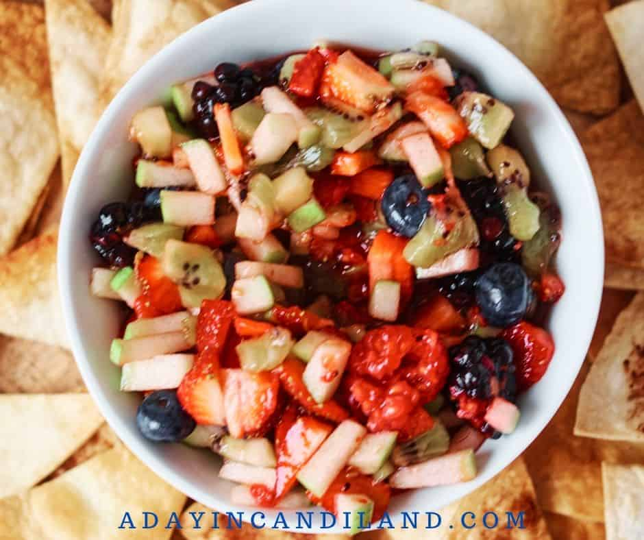 White Bowl with Fresh Chopped Fruit Salsa